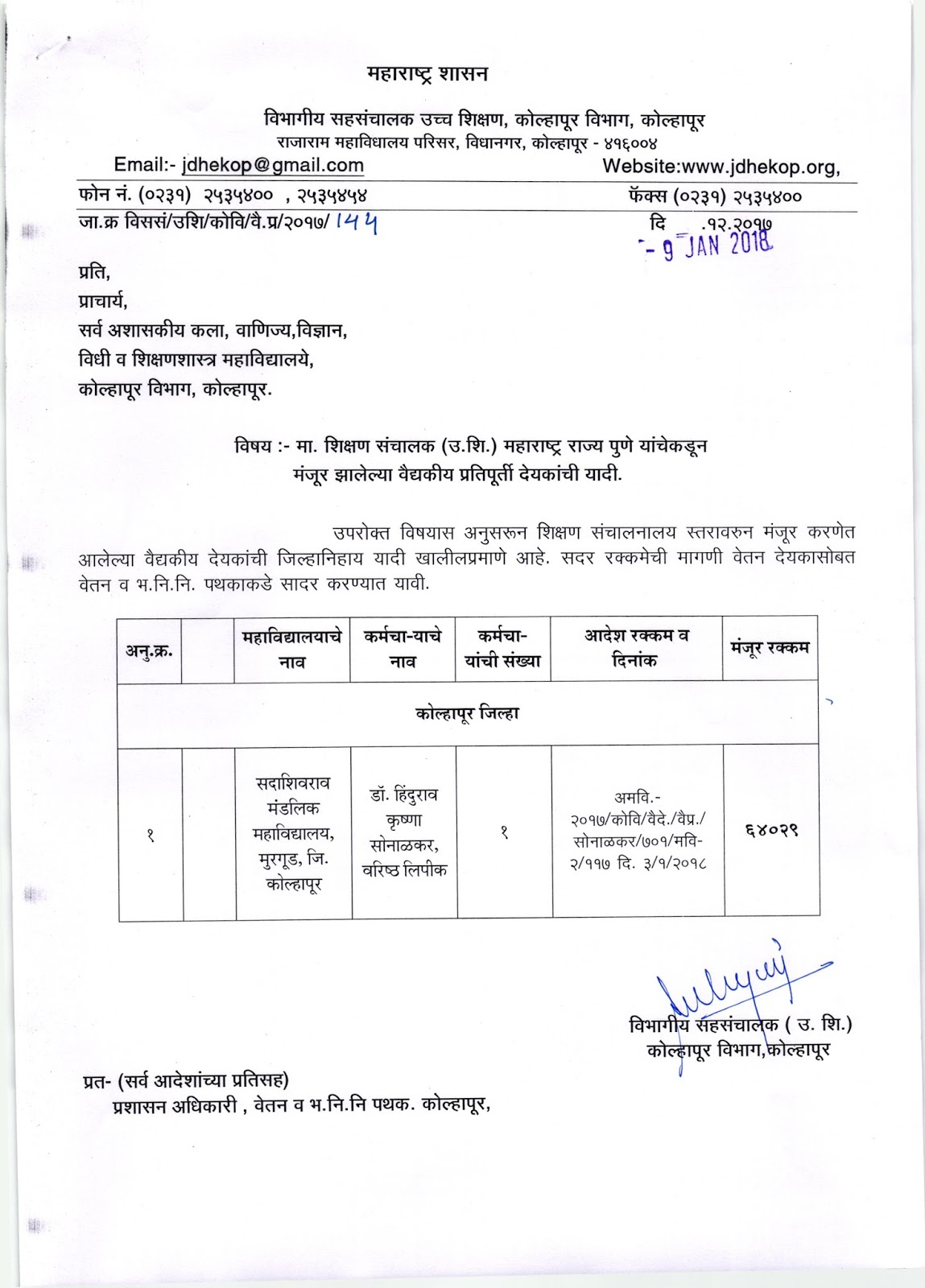 sanction medical bill list joint director higher education kolhapur