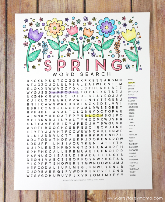 Free Printable Spring Word Search Coloring Page artsy fartsy mama