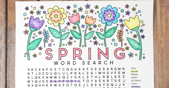 Free Printable Spring Word Search Coloring Page artsy