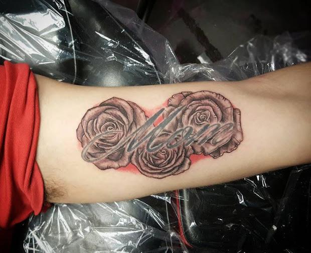 Inner Arm Forearm Rose Tattoos For Men Rose Tatoo border=