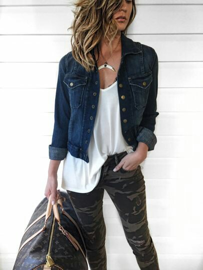 Denim jacket with camo tights