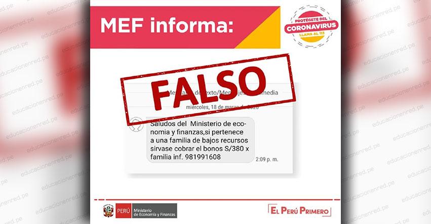 MEF ALERTA: Ministerio de Economía desmiente mensaje que circula en redes sociales sobre pago de bono de S/ 380