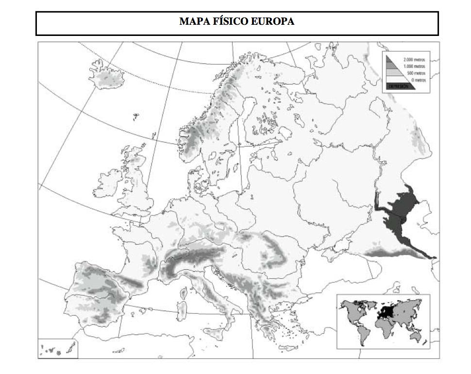 Mapa Mudo Rios Europa Blanco Y Negro.Aprender Aprender Tema 6 El Medio Fisico En Europa Y Espana