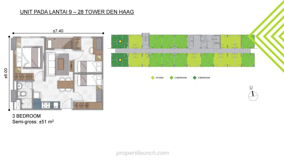Tipe 3BR - Floor Plan Lantai 9-28