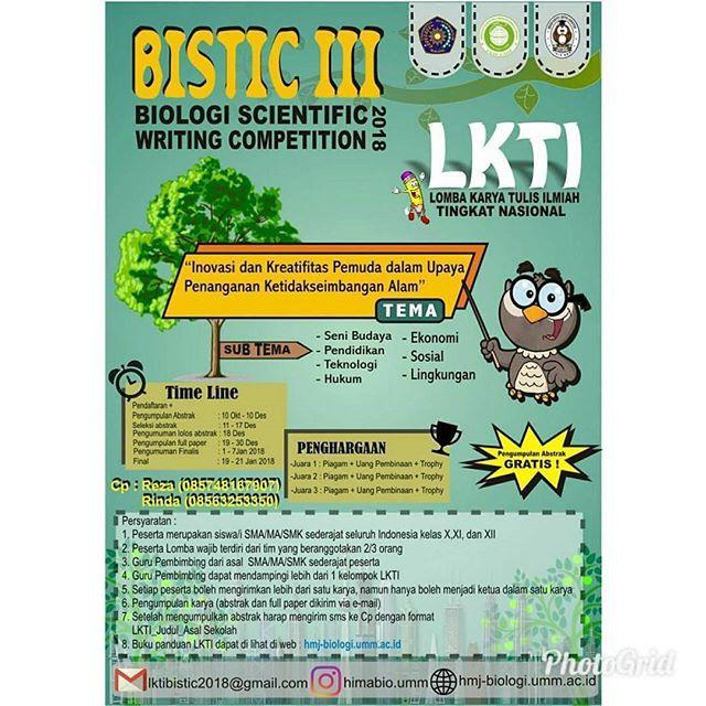 Lomba Karya Tulis Ilmiah (LKTI) BISTIC III 2018 Untuk SMA Sederajat