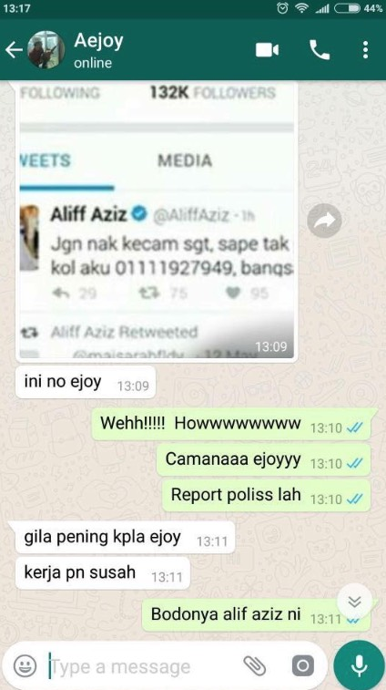 Bagi Nombor Telefon Orang Lain, Aliff Aziz Digelar Bodoh