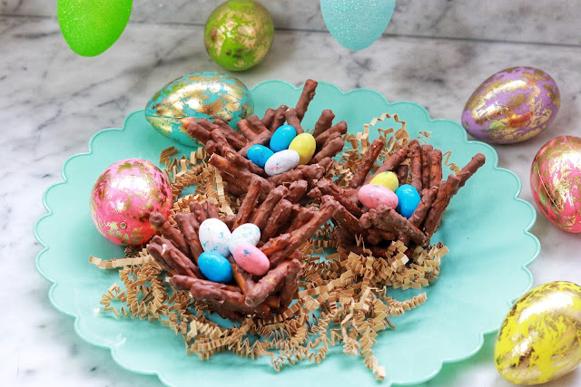 Easy Easter Snack Chocolate Pretzel Bird Nests