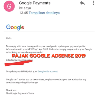 Pajak Google Adsense 2019 untuk para Publisher
