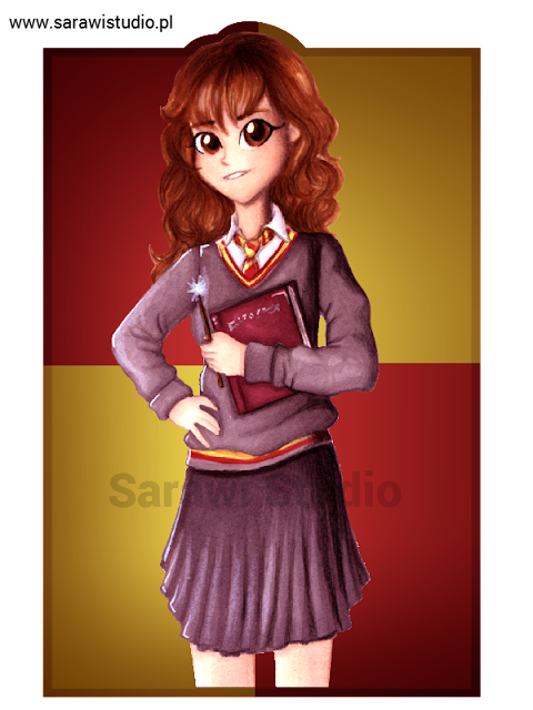hermiona, harry potter, postać, fanart, gryffindor, rysunek, drawing, 30 day, challenge, comcom!!