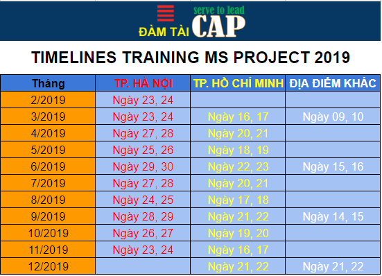 Lịch đào tạo MS Project 2019