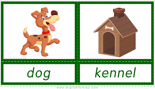 Animal homes and habitats -- dog - kennel -- printable flashcards for English learners