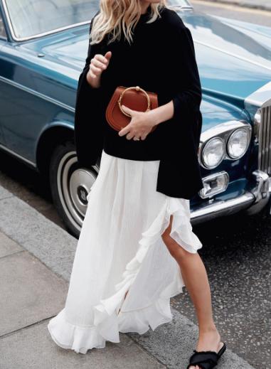 ruffle maxi skirt
