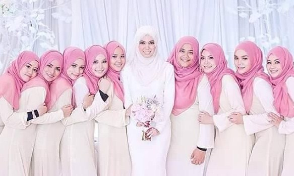 Contoh Desain Busana Muslim Dress Wanita Untuk Seragam Pernikahan