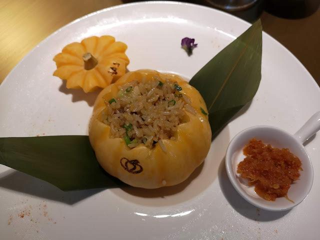 Iberico Pork Fried Rice served in Mini Pumpkin accompanied with XO Sauce