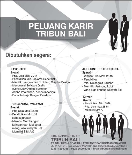 Dibutuhkan Segera Karyawan Untuk Tribun Bali Terbaru Mei 2018 Lowongan Kerja Bali Terbaru 2019 Loker Bali Terbaru