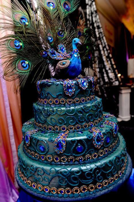 Artistic Land Peacock Wedding Cake