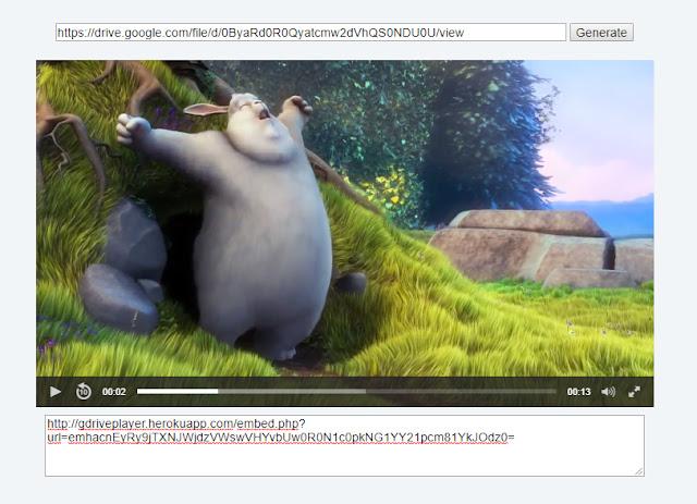 Google Drive URL Embed Script JWPlayer Gratis