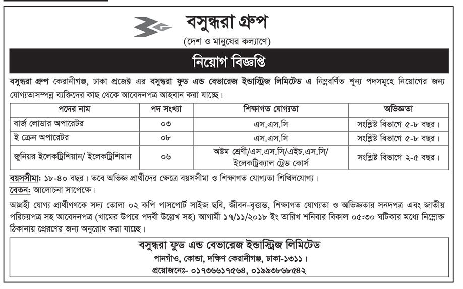 Bashundhara Group Job Circular 2018