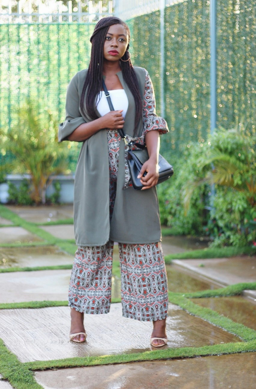 Made in Nigeria coord set in khaki green