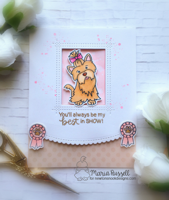 Best in Show Dog card by Maria Russell | Terrific Terriers | Dog Stamp Set by Newton's Nook Designs #newtonsnook