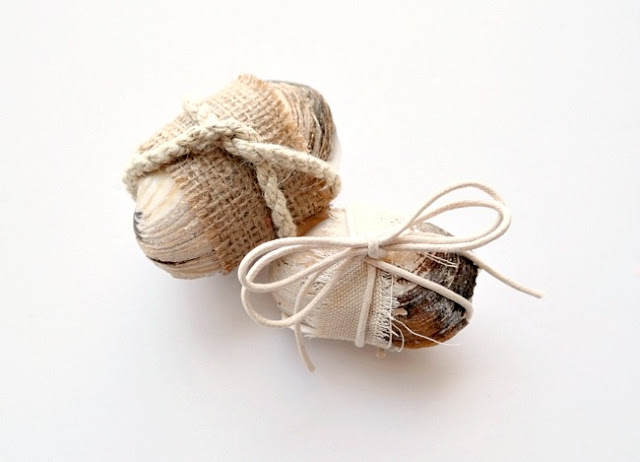 Canvas and Cord Wrapped Sea Shell Gift Cases by Dana Tatar