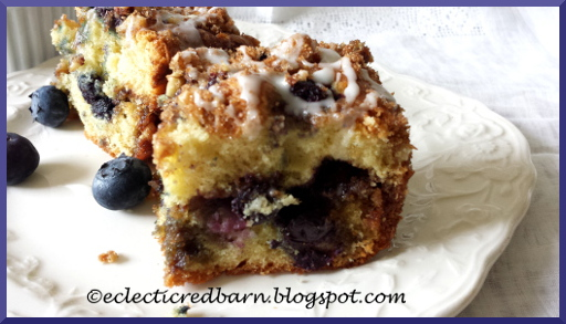 Eclectic Red Barn: Blueberry Coffee Cake with a Nut Streusel
