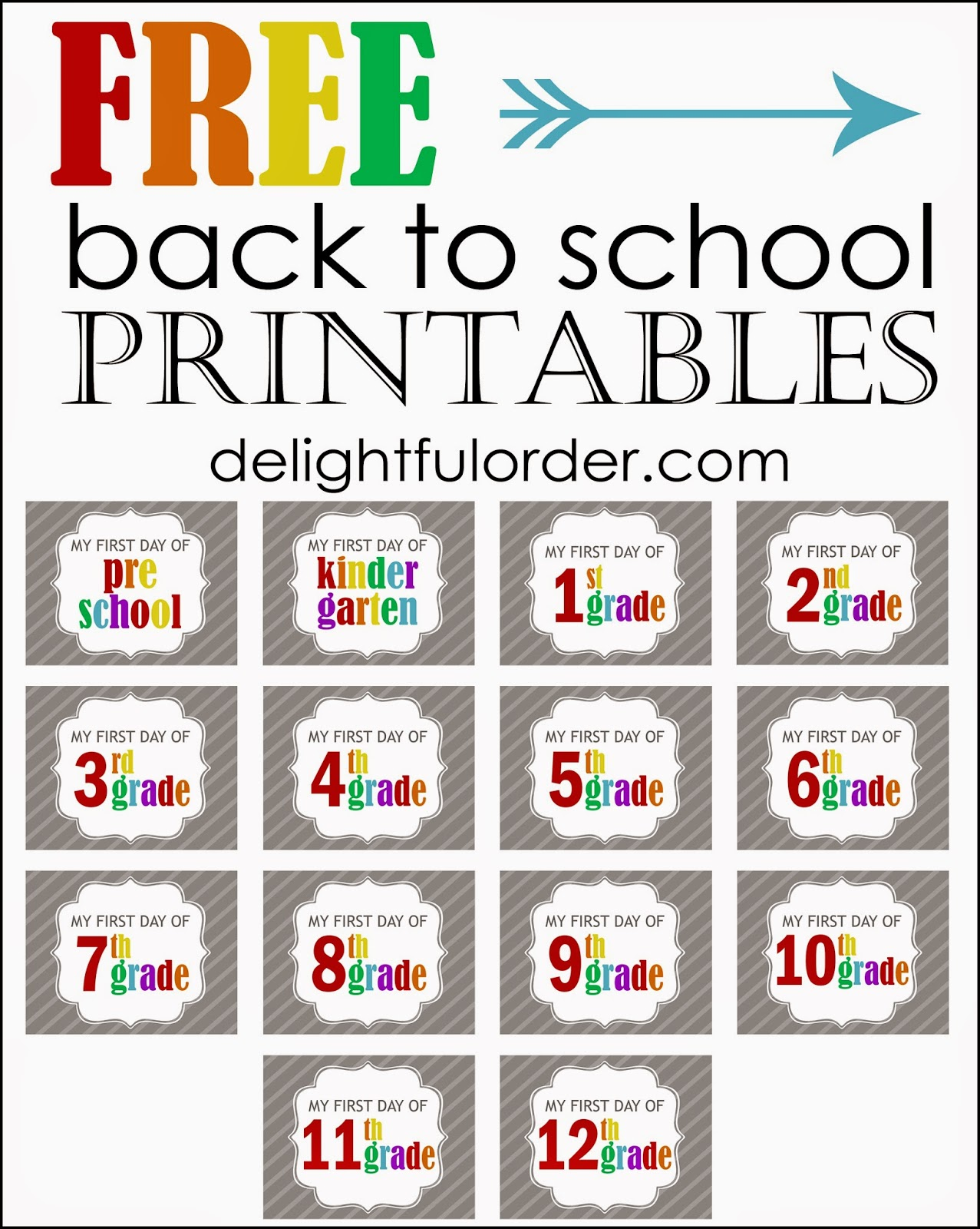 Delightful Order Free Back To School Printables