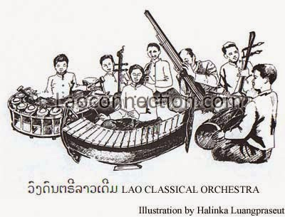 Pictures of Lao Instruments - Traditional Lao Orchestra, drawn by Halinka Luangpraseut