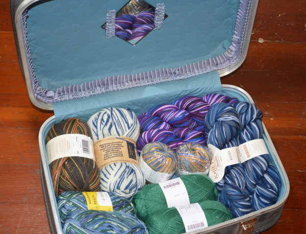 Vintage Train Case Filled with Sock Yarn
