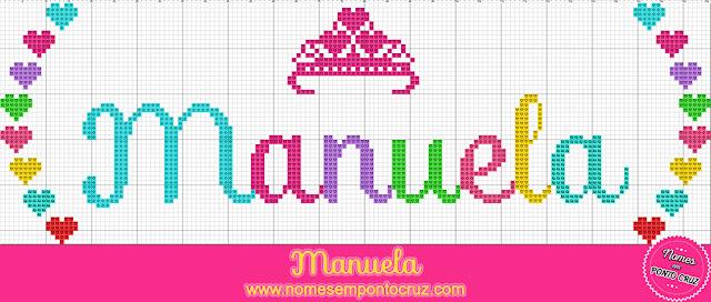 Nome Manuela em Ponto Cruz com coroa