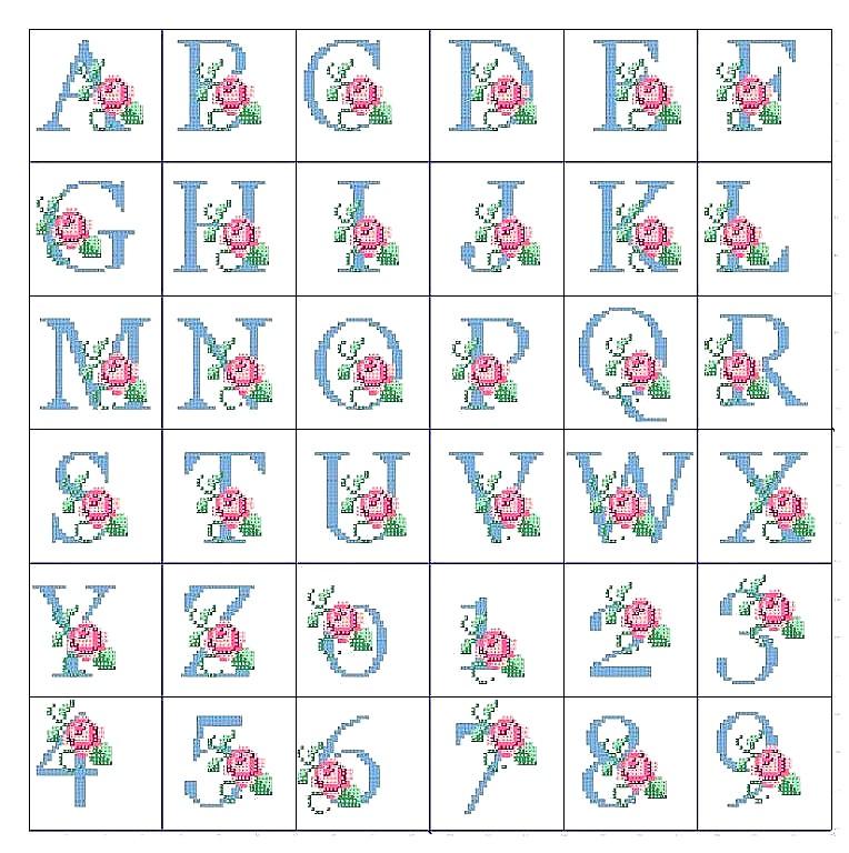 Alfabeto e monogrammi a punto croce for Punto croce schemi alfabeto