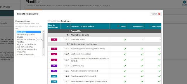 Ventana 'Agregar componente'. Hay un listado de componentes. Está seleccionado 'Directrices'. Al lado se muestra el listado de directrices.