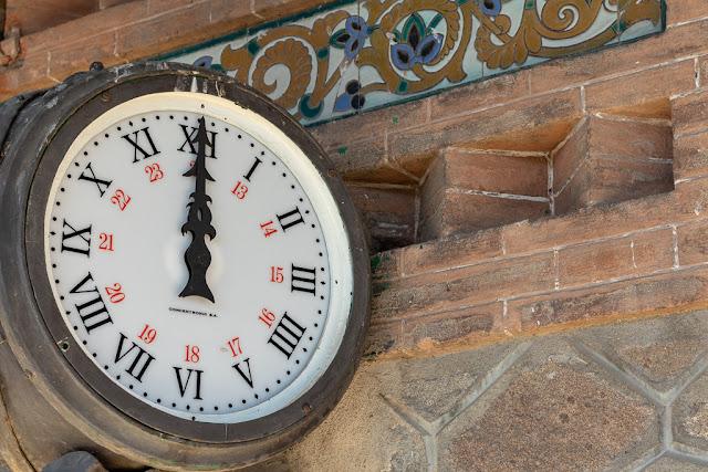 reloj, estación, reloj de estación, ladrillos