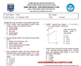 Soal dan Kunci Jawaban UKK/PAT Fisika Kelas 10 SMA/MA Kurikulum 2013 Tahun 2018/2019