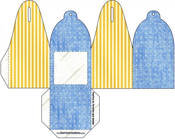 Caja para cupcakes, chocoltes o golosinas de Corona Dorada en Azul y Amarillo.