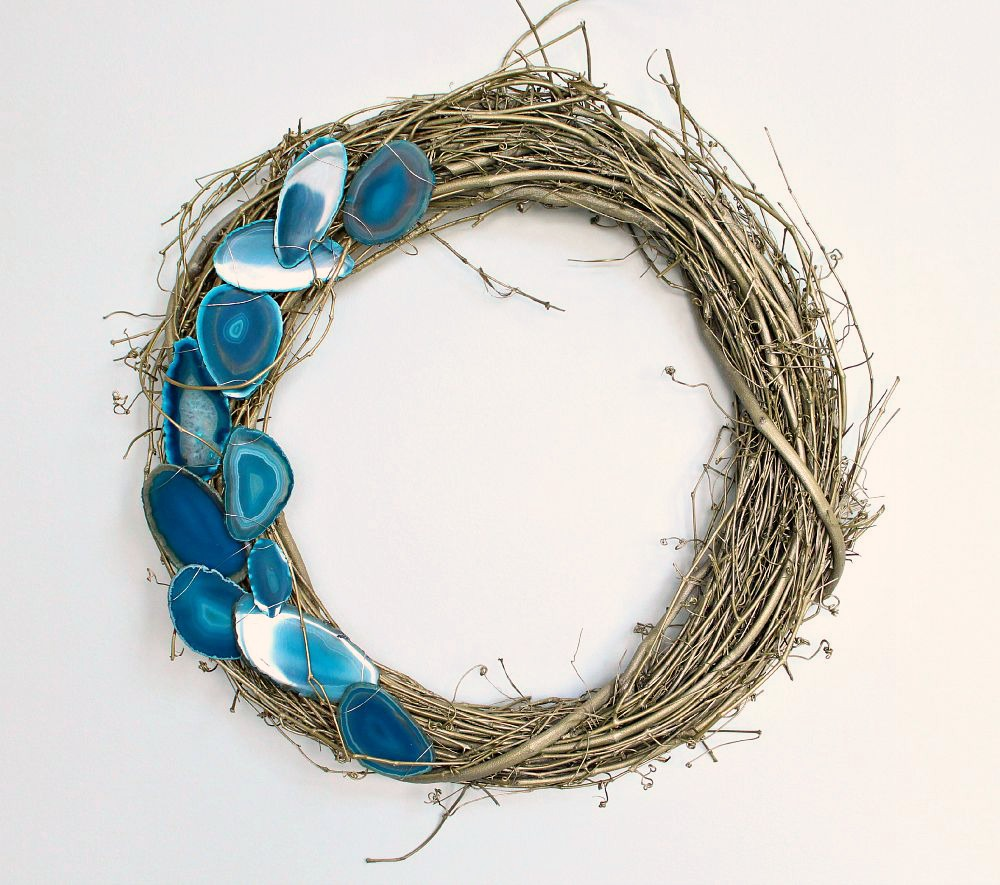 Wreath Decor Doorway Laurel Garland Agate Crystal Blue Mineral Twig Twine Modern Wreaths