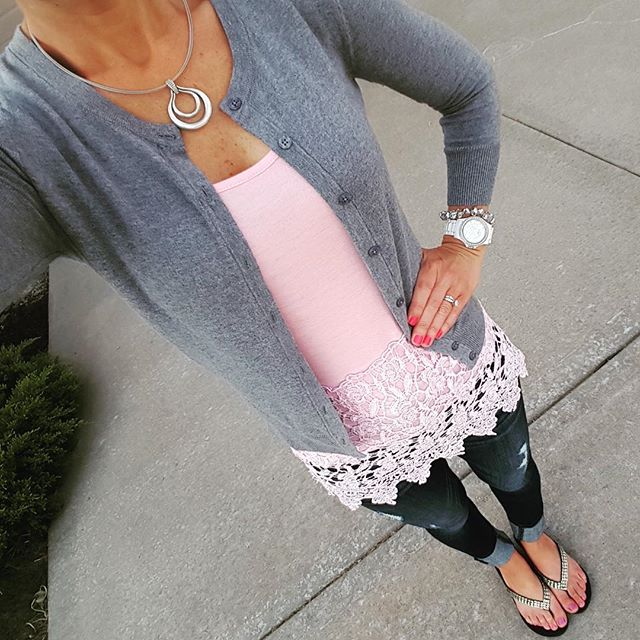 Merona Cardigan // Lace Trim Top via Zulily (similar - only $8) // Express Distresses Legging Jeans - buy 1 get 1 for $30 // Aldo Flip Flops (similar) // Fossil Stella Watch (similar for only $18)