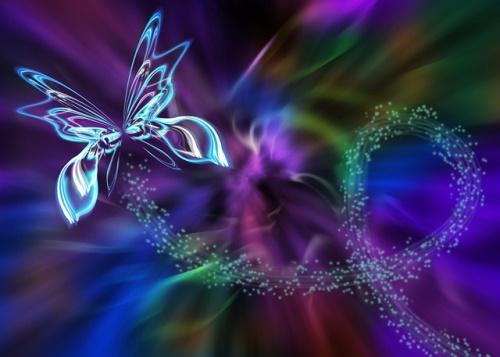 Borboleta abstrata em fractal de luzes. #PraCegoVer