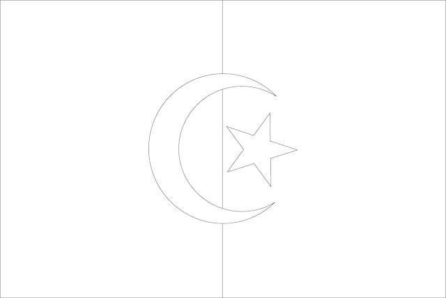 drapeau algérien à colorier