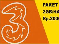 Cara Mendaftar Paket Kartu Tri (3) 2 GB Sehari Full Rp.1.500