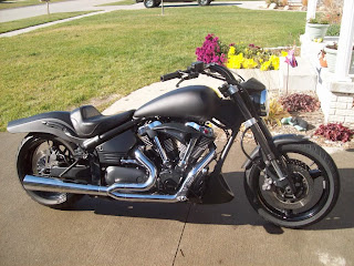 Motorcycle painted with bedliner