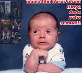 gambar lucu dp bayi nonton film horor