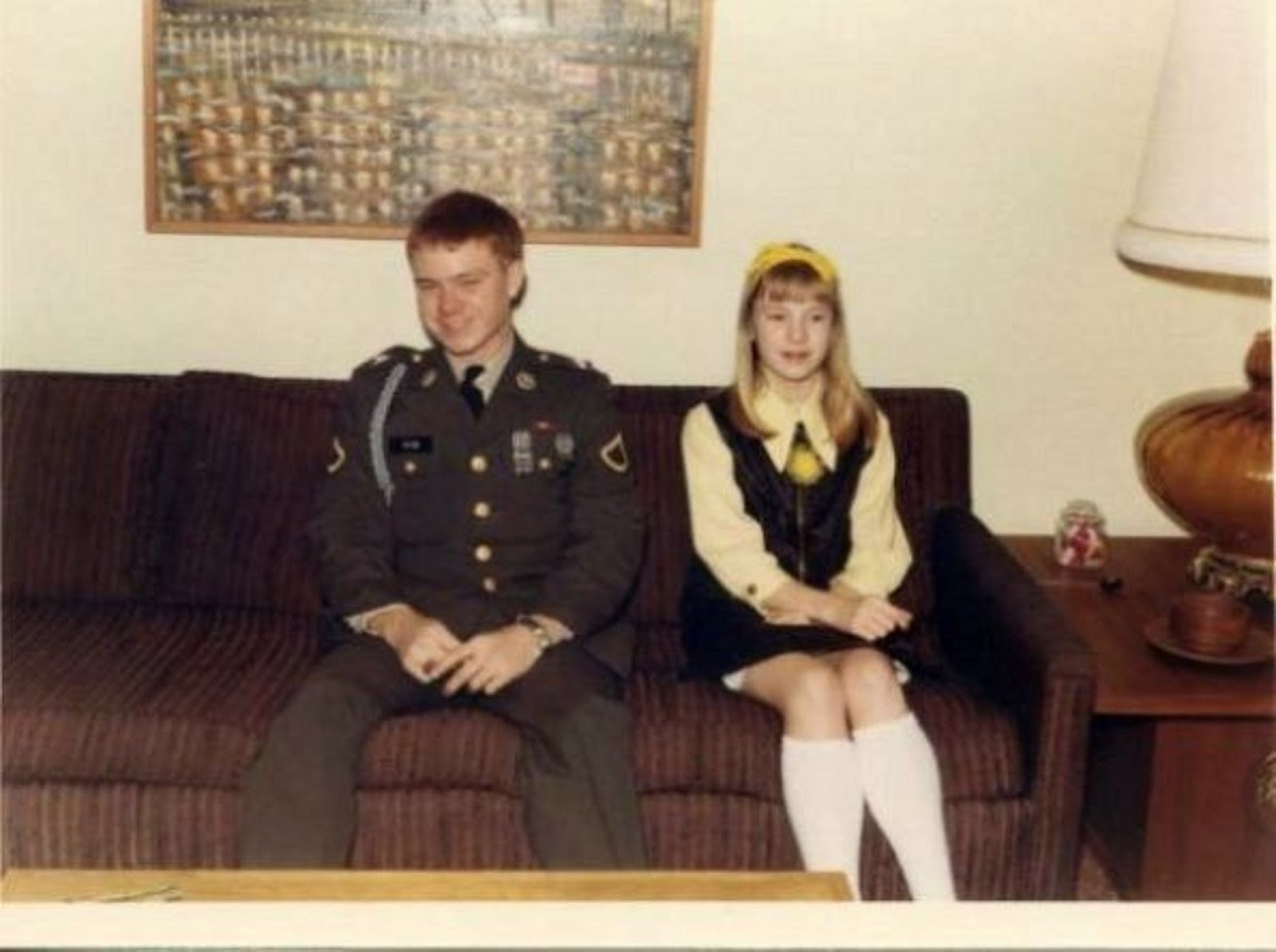 ME IN UNIFORM WITH MY LITTLE SISTER  KATHY PAYNE ON THE NIGHT I WAS LEAVING FOR VIETNAM