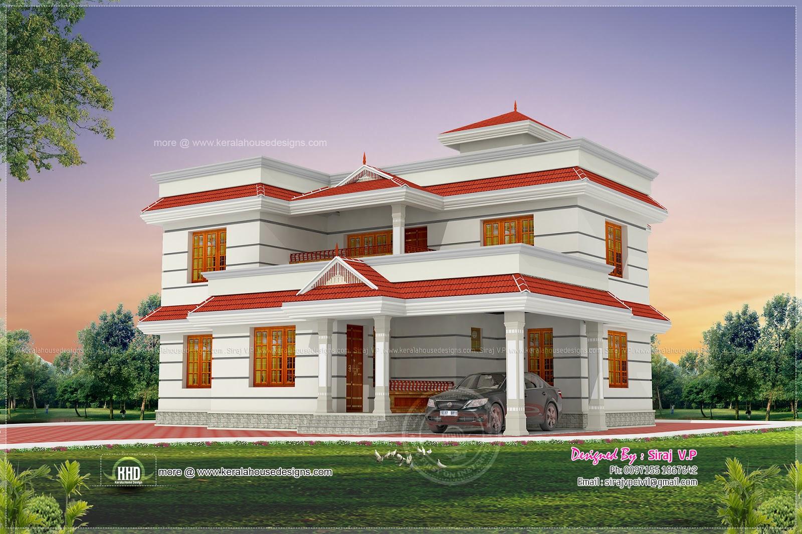 1990 foursquare feet iv BHK line solid elevation blueprint  Home Kerala Plans