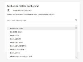 135 daftar bank untuk pembayaran google adsense terbaru