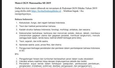 Materi Kisi-Kisi OGN SD 2019, http://www.librarypendidikan.com/