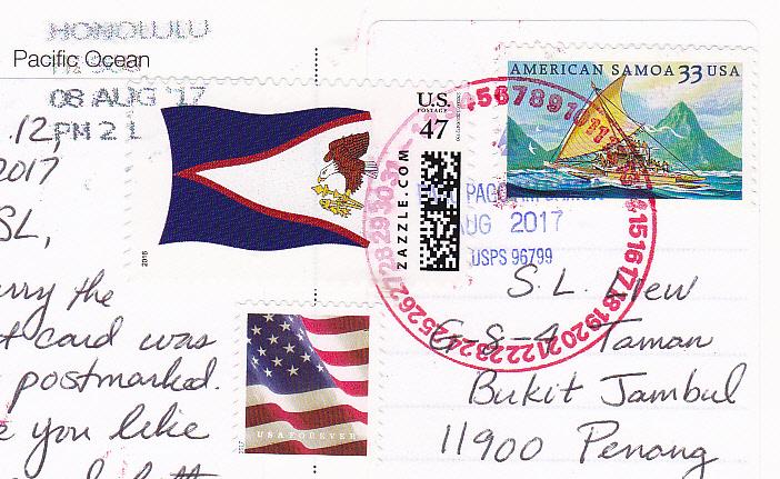 this time the postcard got a pago pago american samoa and a bonus honolulu postcard cancellation