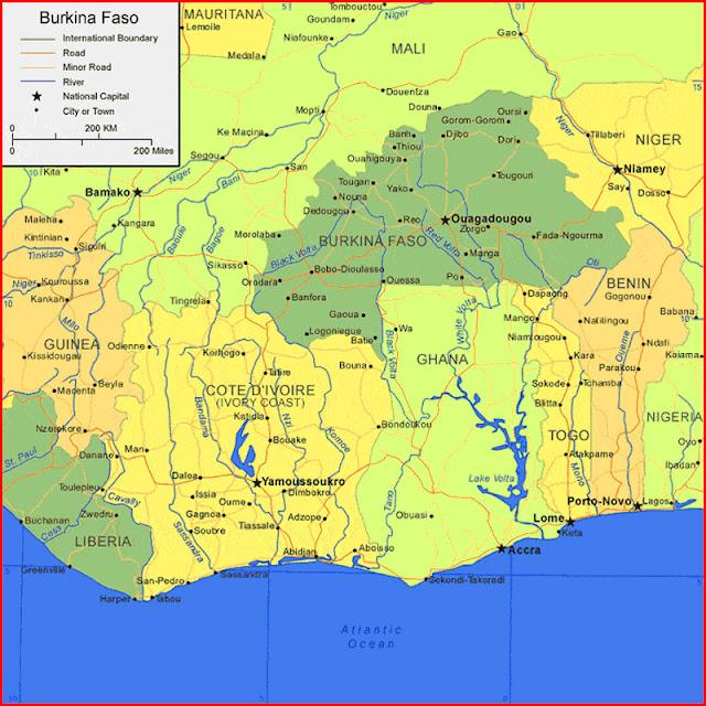 image: burkina faso on map