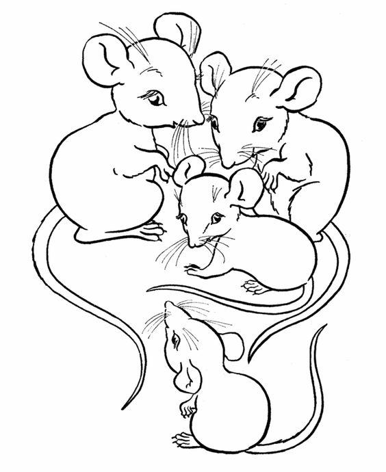 Tranh tô màu gia đình chuột