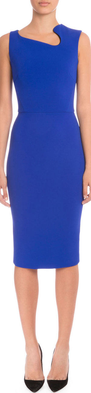Victoria Beckham Sleeveless Asymmetric-Neck Sheath Dress